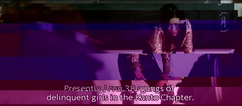 """Presently I run 38 gangs of delinquent girls in the Kanto chapter."" Still from Terrifying Girls' High School: Lynch Law Classroom (Suzuki 1973)"